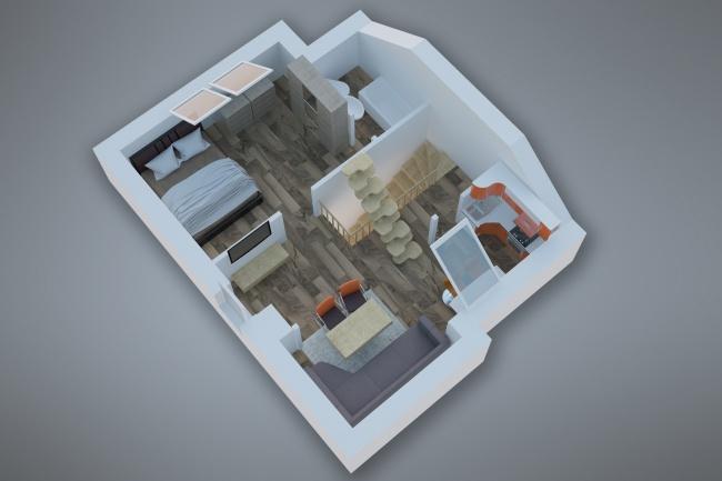 Сделаю 3д визуализацию плана для дома, квартиры 20 - kwork.ru