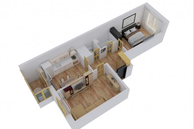 Сделаю 3д визуализацию плана для дома, квартиры 19 - kwork.ru
