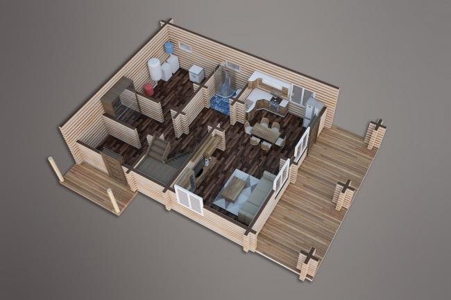 Сделаю 3д визуализацию плана для дома, квартиры 18 - kwork.ru