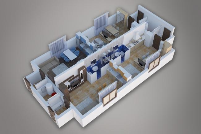 Сделаю 3д визуализацию плана для дома, квартиры 17 - kwork.ru