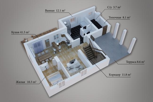 Сделаю 3д визуализацию плана для дома, квартиры 16 - kwork.ru