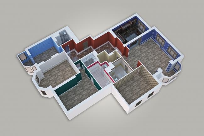 Сделаю 3д визуализацию плана для дома, квартиры 15 - kwork.ru