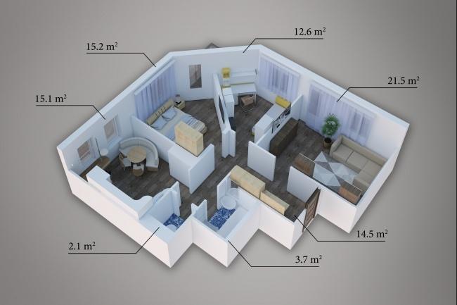 Сделаю 3д визуализацию плана для дома, квартиры 14 - kwork.ru