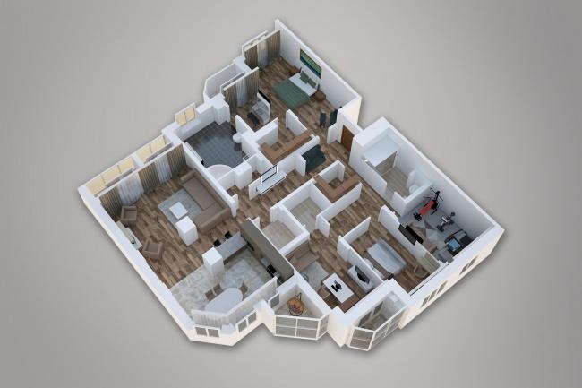 Сделаю 3д визуализацию плана для дома, квартиры 13 - kwork.ru