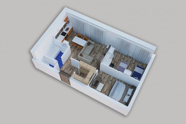 Сделаю 3д визуализацию плана для дома, квартиры 12 - kwork.ru