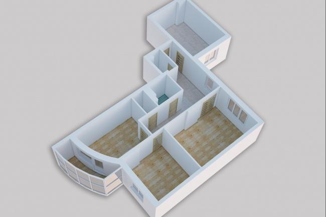 Сделаю 3д визуализацию плана для дома, квартиры 11 - kwork.ru