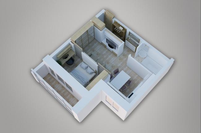 Сделаю 3д визуализацию плана для дома, квартиры 9 - kwork.ru