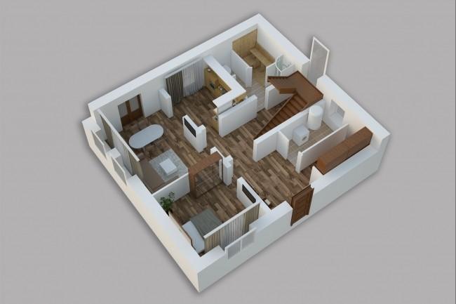 Сделаю 3д визуализацию плана для дома, квартиры 8 - kwork.ru