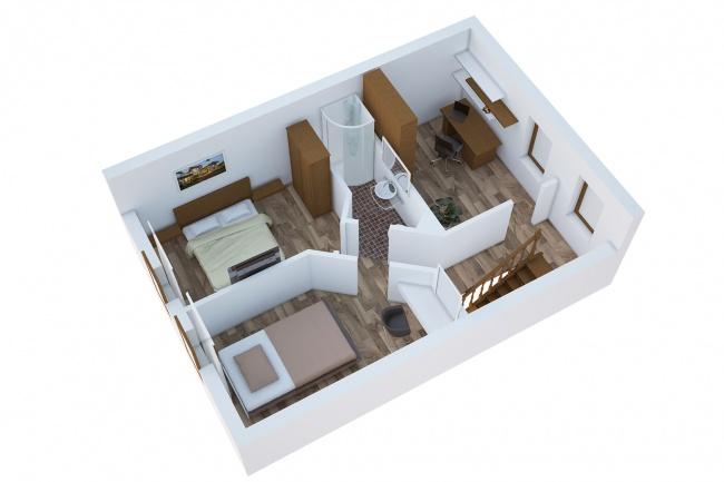 Сделаю 3д визуализацию плана для дома, квартиры 23 - kwork.ru