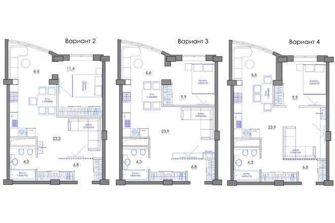 Планировка квартиры или жилого дома, перепланировка и визуализация 68 - kwork.ru