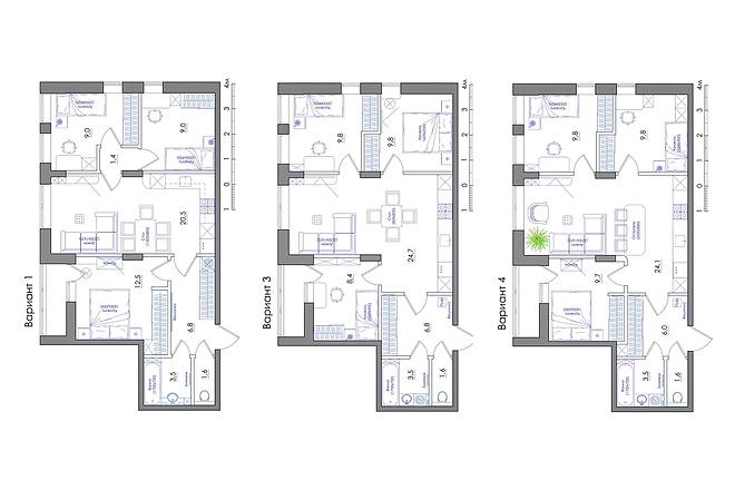 Планировка квартиры или жилого дома, перепланировка и визуализация 64 - kwork.ru
