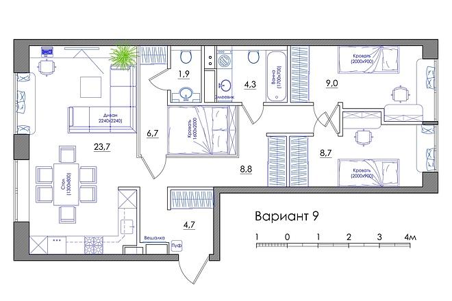 Планировка квартиры или жилого дома, перепланировка и визуализация 57 - kwork.ru
