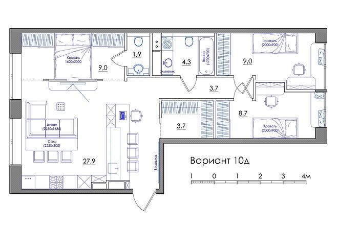 Планировка квартиры или жилого дома, перепланировка и визуализация 58 - kwork.ru