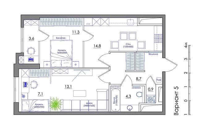 Планировка квартиры или жилого дома, перепланировка и визуализация 56 - kwork.ru