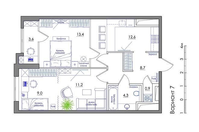 Планировка квартиры или жилого дома, перепланировка и визуализация 54 - kwork.ru