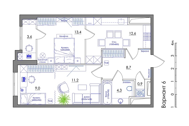 Планировка квартиры или жилого дома, перепланировка и визуализация 55 - kwork.ru