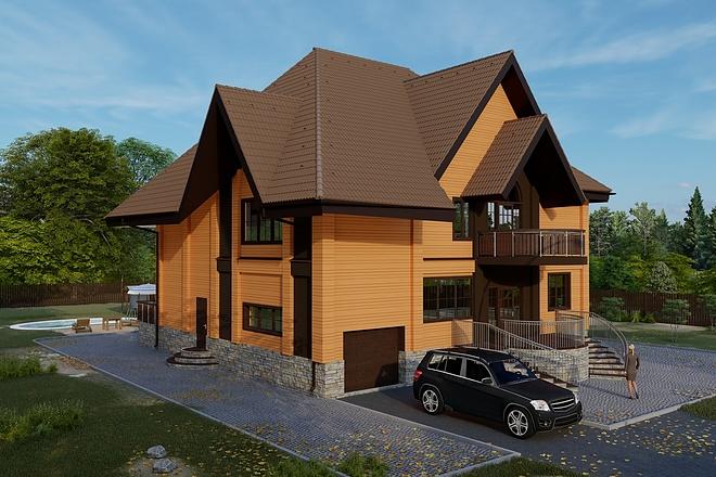 Фотореалистичная 3D визуализация экстерьера Вашего дома 160 - kwork.ru