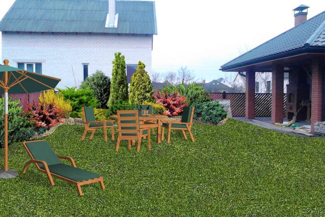 Визуализация благоустройства и озеленения территории, фото-эскиз 2 - kwork.ru