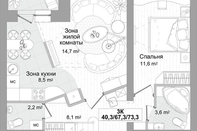 Планировка двухкомнатной квартиры за 24 часа 7 - kwork.ru