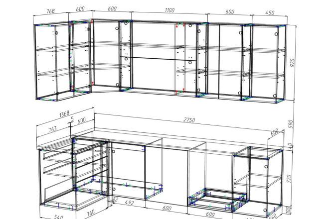 Проект корпусной мебели, кухни. Визуализация мебели 60 - kwork.ru