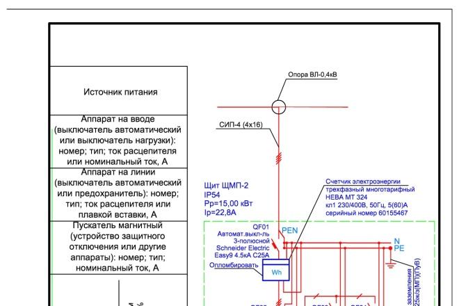 Выполню однолинейную схему электроснабжения 3 - kwork.ru