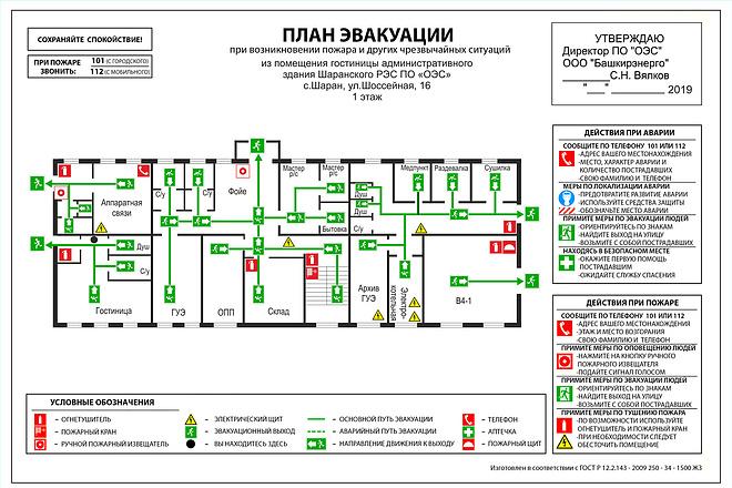 Разработка планов эвакуации по ГОСТу в разных форматах 2 - kwork.ru
