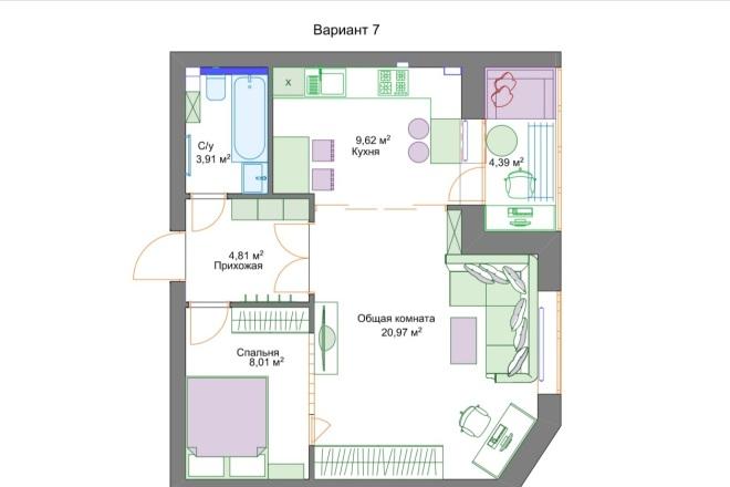 Планировочные решения. Планировка с мебелью и перепланировка 20 - kwork.ru