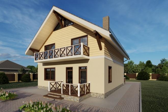 Фотореалистичная 3D визуализация экстерьера Вашего дома 117 - kwork.ru
