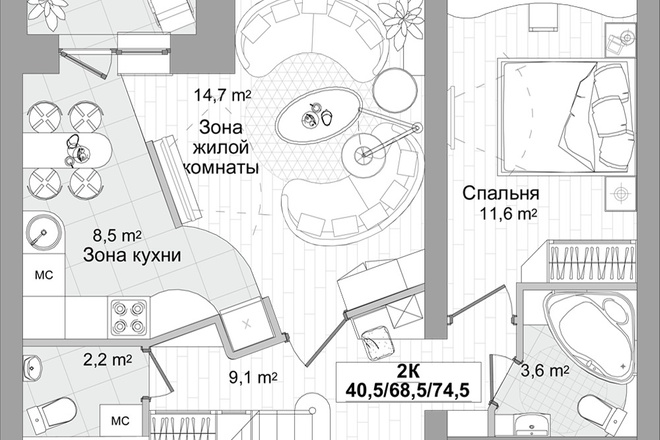 Планировка двухкомнатной квартиры за 24 часа 2 - kwork.ru