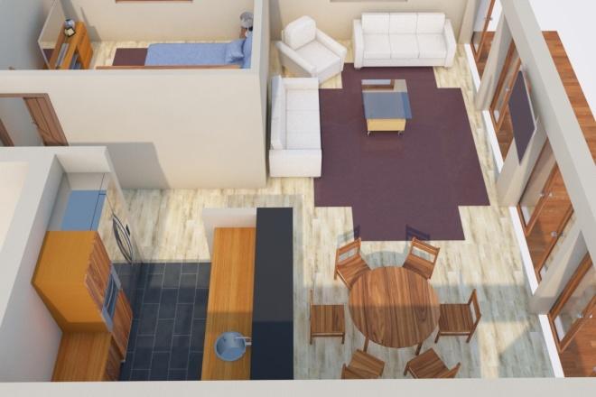 Создам планировку дома, квартиры с мебелью 23 - kwork.ru