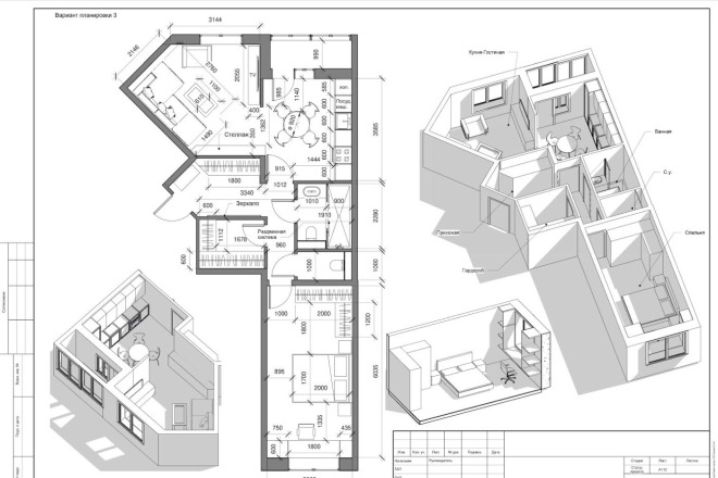 Разработка 3 вариантов планировки квартиры 3 - kwork.ru