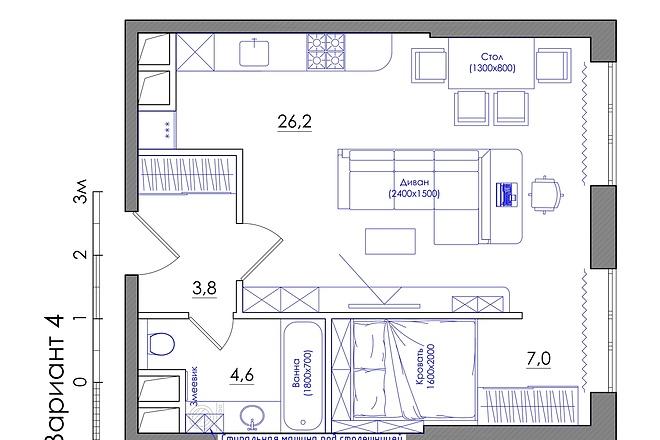 Планировка квартиры или жилого дома, перепланировка и визуализация 24 - kwork.ru