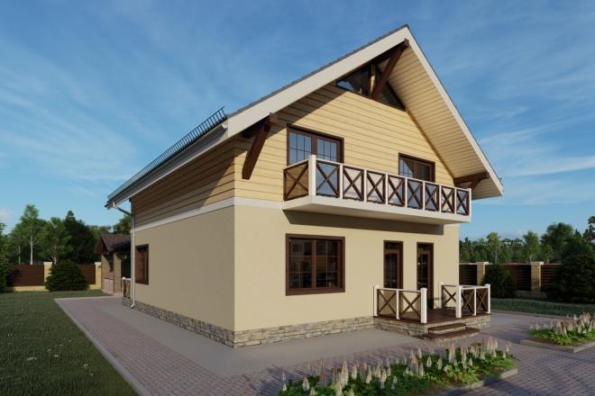 Фотореалистичная 3D визуализация экстерьера Вашего дома 114 - kwork.ru