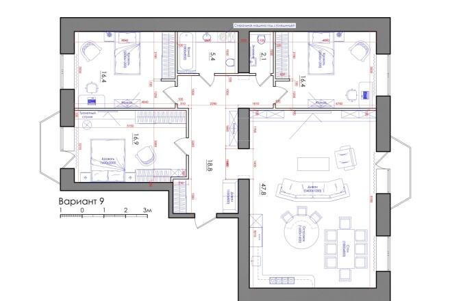 Планировка квартиры или жилого дома, перепланировка и визуализация 7 - kwork.ru
