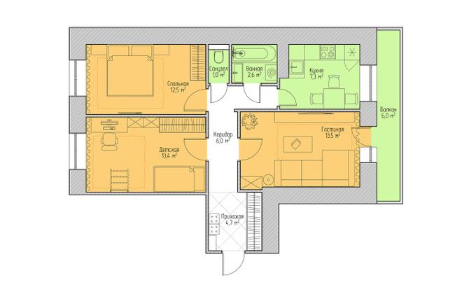 Планировочное решение квартиры, дома. Перепланировка. Планировка 17 - kwork.ru