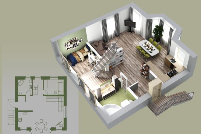 Объемно - планировочная схема, 3D 1 - kwork.ru