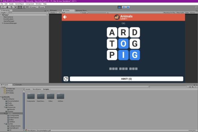 Исходник игры Word Game. Unity package 1 - kwork.ru