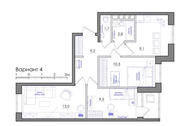 Планировка квартиры или жилого дома, перепланировка и визуализация 9 - kwork.ru