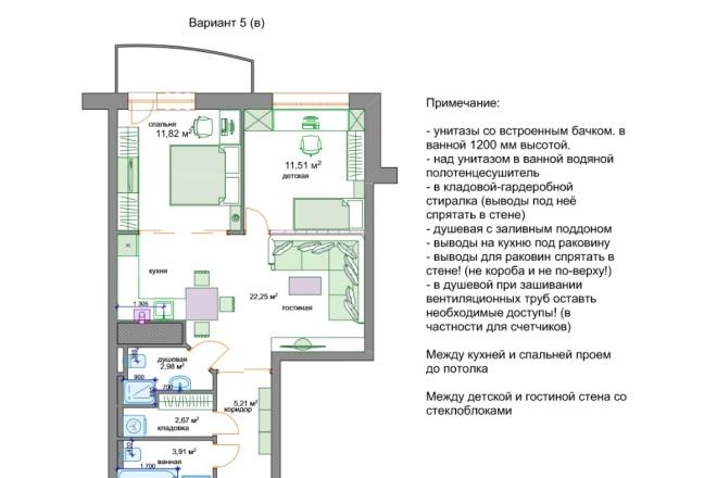 Планировочные решения. Планировка с мебелью и перепланировка 74 - kwork.ru