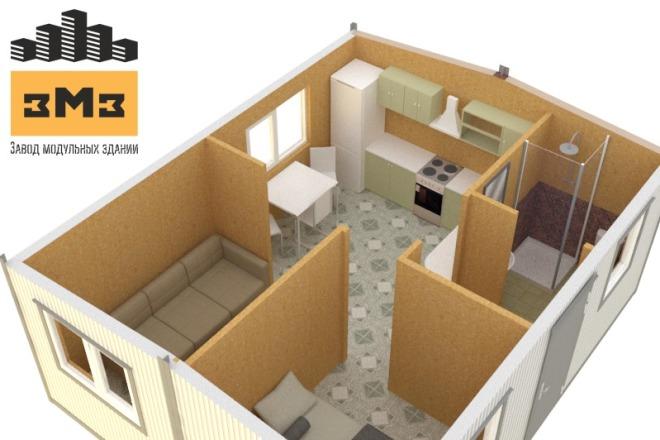 3D Моделирование навеса + визуализация 13 - kwork.ru