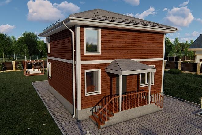 Фотореалистичная 3D визуализация экстерьера Вашего дома 142 - kwork.ru