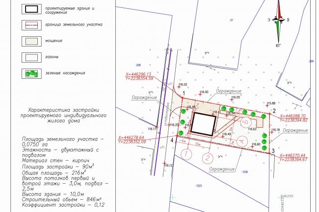 Схема планировочной организации земельного участка - спозу 44 - kwork.ru