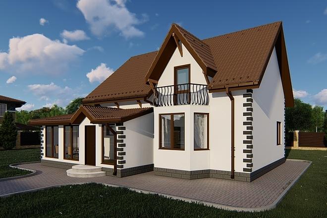 Фотореалистичная 3D визуализация экстерьера Вашего дома 134 - kwork.ru