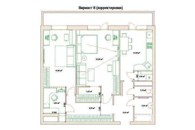 Планировочные решения. Планировка с мебелью и перепланировка 78 - kwork.ru