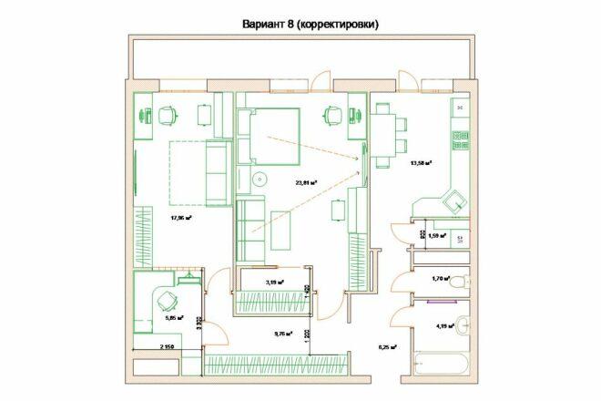 Планировочные решения. Планировка с мебелью и перепланировка 100 - kwork.ru
