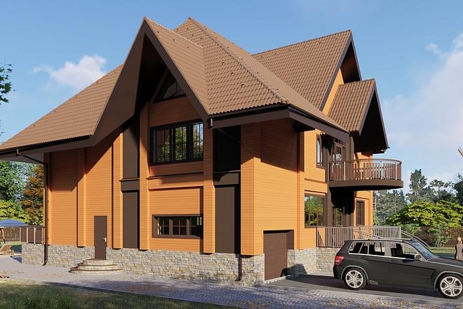 Фотореалистичная 3D визуализация экстерьера Вашего дома 158 - kwork.ru