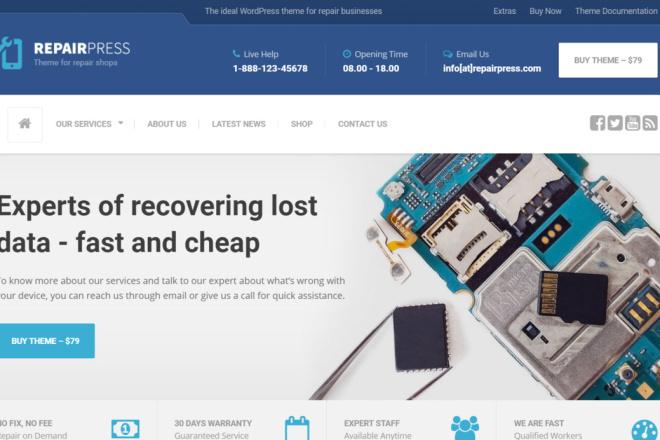 Тема RepairPress с плагинами для WordPress на русском с обновлениями 13 - kwork.ru