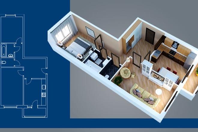 Объемно - планировочная схема, 3D 3 - kwork.ru