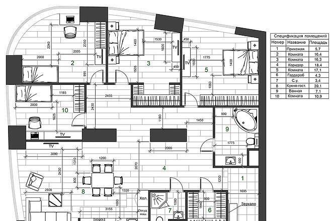 Разработка 3 вариантов планировки квартиры 9 - kwork.ru
