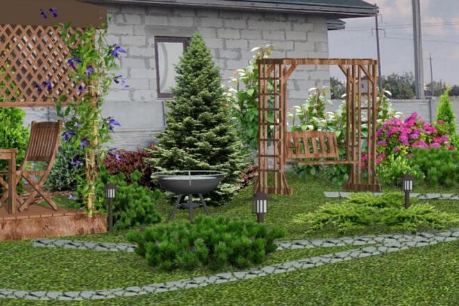 Визуализация благоустройства и озеленения территории, фото-эскиз 14 - kwork.ru